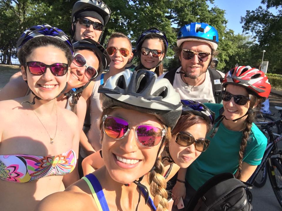 group photo during bike tour in croatia